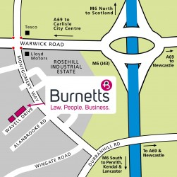 Map showing Burnetts' new Rosehill office